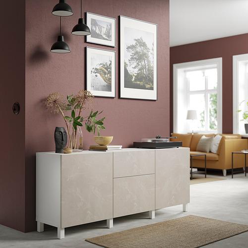 BESTÅ - 貯物組合連抽屜, white Bergsviken/Stubbarp/beige marble effect | IKEA 香港及澳門 - PE821203_S4