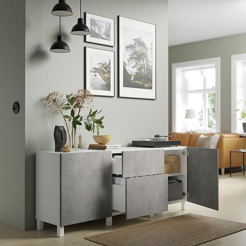 BESTÅ - 貯物組合連抽屜, white Kallviken/light grey concrete effect   IKEA 香港及澳門 - PE821168_S4