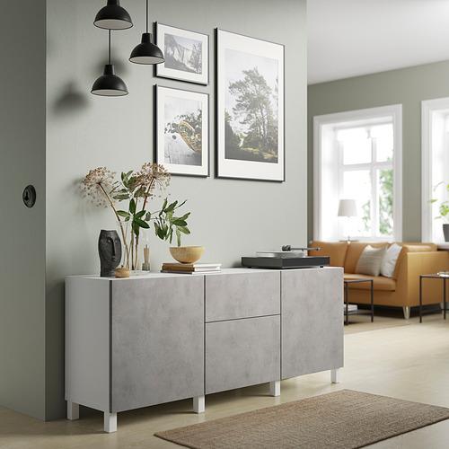 BESTÅ - 貯物組合連抽屜, white Kallviken/light grey concrete effect   IKEA 香港及澳門 - PE821154_S4