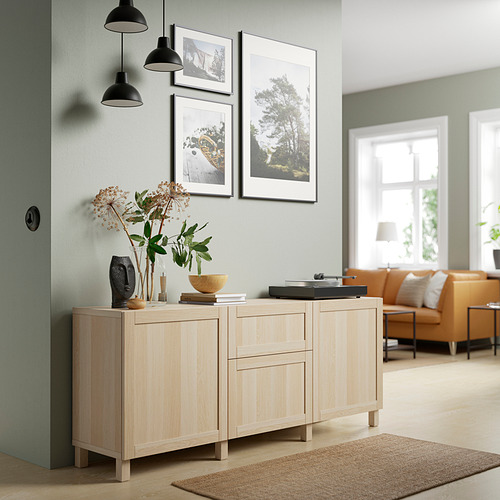 BESTÅ - 貯物組合連抽屜, white stained oak effect/Hanviken/Stubbarp white stained oak effect   IKEA 香港及澳門 - PE821160_S4