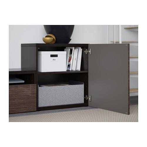 BESTÅ - 電視貯物組合/玻璃門, 棕黑色/Selsviken 光面/褐色/透明玻璃 | IKEA 香港及澳門 - PE560856_S4