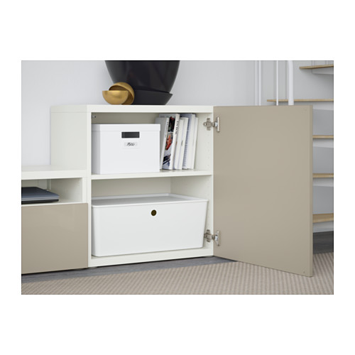 BESTÅ - TV storage combination/glass doors, white/Selsviken high-gloss/beige clear glass | IKEA Hong Kong and Macau - PE560862_S4
