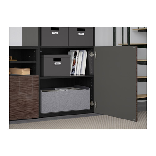 BESTÅ - TV storage combination/glass doors, black-brown/Selsviken high-gloss/brown clear glass | IKEA Hong Kong and Macau - PE560938_S4