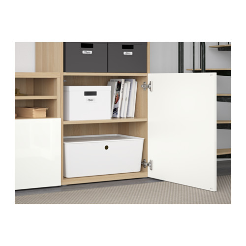 BESTÅ - TV storage combination/glass doors, white stained oak effect/Selsviken high-gloss/white frosted glass | IKEA Hong Kong and Macau - PE560948_S4