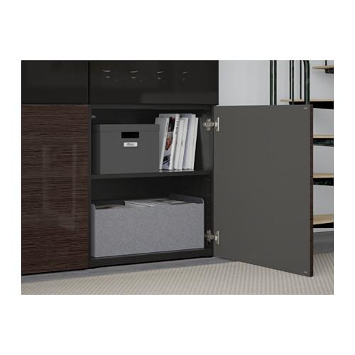 BESTÅ - storage combination w glass doors, black-brown/Selsviken high-gloss/brown smoked glass | IKEA Hong Kong and Macau - PE560990_S4
