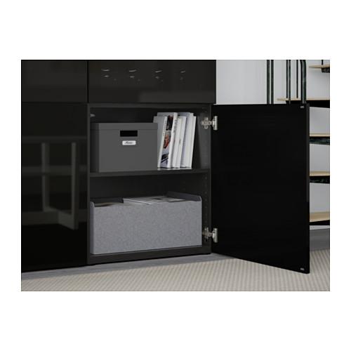 BESTÅ - storage combination w glass doors, black-brown/Selsviken high-gloss/black smoked glass | IKEA Hong Kong and Macau - PE561020_S4