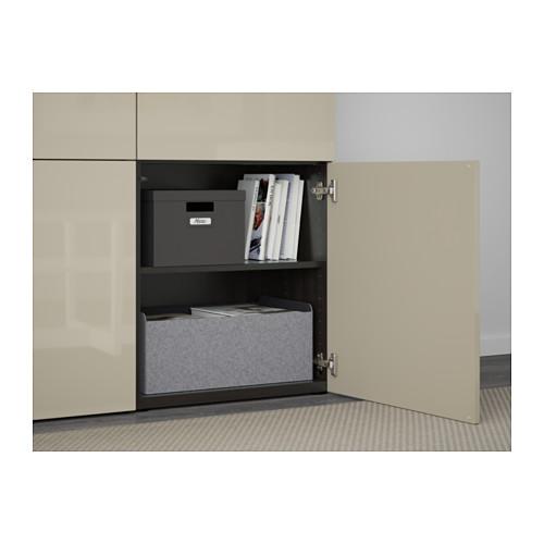 BESTÅ - storage combination with doors, black-brown/Selsviken high-gloss/beige   IKEA Hong Kong and Macau - PE561025_S4