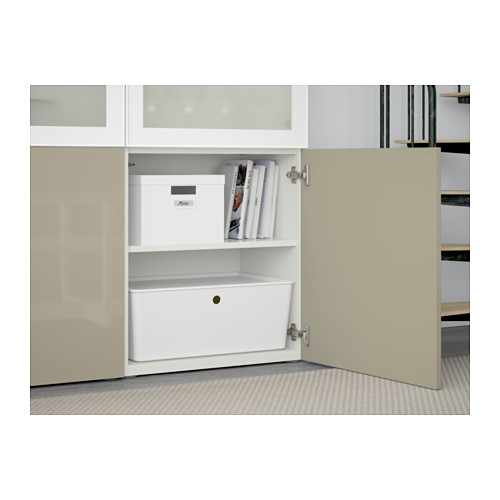 BESTÅ - storage combination w glass doors, white/Selsviken high-gloss/beige frosted glass | IKEA Hong Kong and Macau - PE561064_S4
