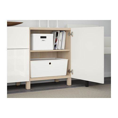 BESTÅ - storage combination with drawers, white stained oak effect/Selsviken high-gloss/white | IKEA Hong Kong and Macau - PE561099_S4