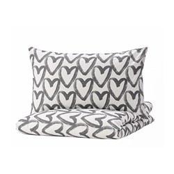 LYKTFIBBLA - 被套連2個枕袋, 白色/灰色, 200x200/50x80 cm   IKEA 香港及澳門 - PE769098_S3