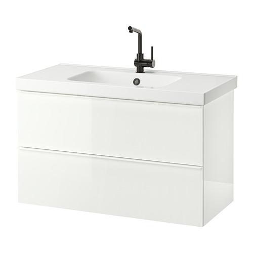 ODENSVIK/GODMORGON - 雙抽屜洗手盆櫃, high-gloss white/LUNDSKÄR tap | IKEA 香港及澳門 - PE822624_S4