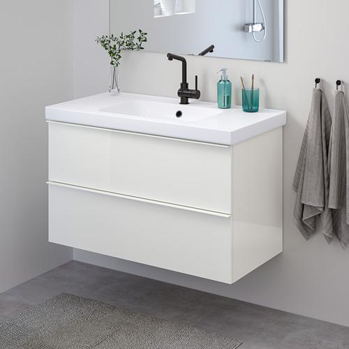 ODENSVIK/GODMORGON - 雙抽屜洗手盆櫃, high-gloss white/LUNDSKÄR tap | IKEA 香港及澳門 - PE822626_S4