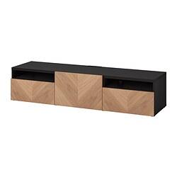 BESTÅ - 電視几連抽屜/門, black-brown/Hedeviken oak veneer | IKEA 香港及澳門 - PE820918_S3