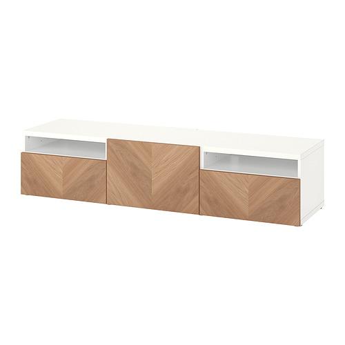 BESTÅ - 電視几連抽屜/門, white/Hedeviken oak veneer | IKEA 香港及澳門 - PE820917_S4