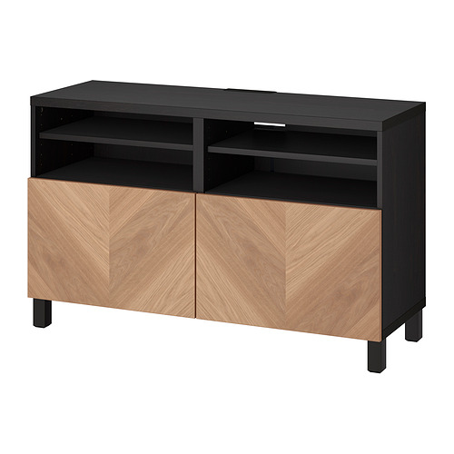 BESTÅ - 電視几連門, black-brown/Hedeviken/Stubbarp oak veneer   IKEA 香港及澳門 - PE820935_S4