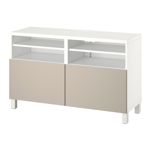 BESTÅ - TV bench with doors, white/Lappviken/Stubbarp light grey/beige   IKEA Hong Kong and Macau - PE820939_S4