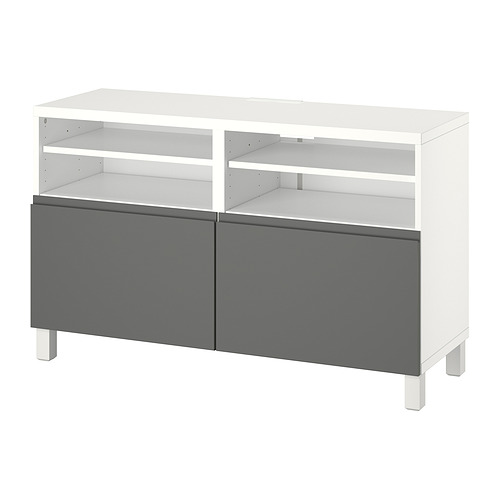 BESTÅ - TV bench with doors, white/Västerviken/Stubbarp dark grey | IKEA Hong Kong and Macau - PE820930_S4