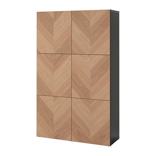 BESTÅ - storage combination with doors, black-brown/Hedeviken oak veneer | IKEA Hong Kong and Macau - PE821017_S4