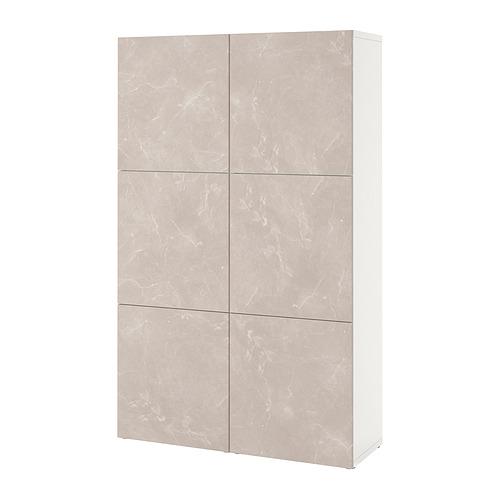 BESTÅ - 貯物組合連門, white Bergsviken/beige marble effect | IKEA 香港及澳門 - PE821018_S4