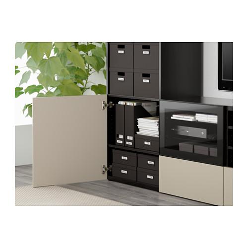 BESTÅ - TV storage combination/glass doors, black-brown/Selsviken high-gloss/beige clear glass | IKEA Hong Kong and Macau - PE561279_S4