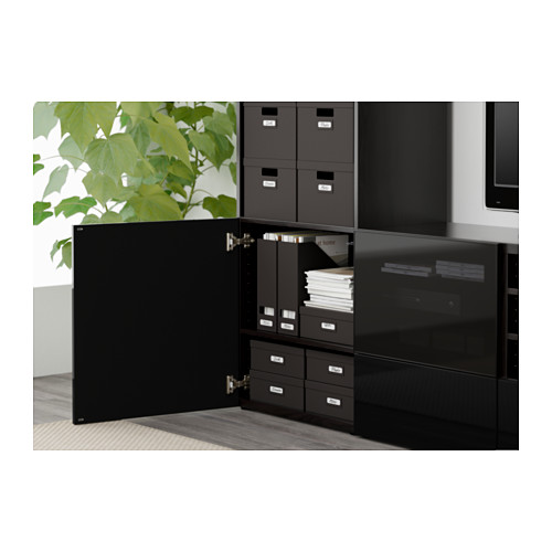 BESTÅ - TV storage combination/glass doors, black-brown/Selsviken high-gloss/black smoked glass | IKEA Hong Kong and Macau - PE561280_S4