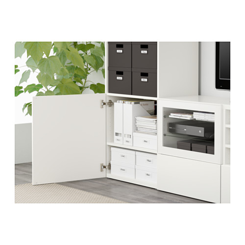 BESTÅ - TV storage combination/glass doors, white/Selsviken high-gloss/white clear glass | IKEA Hong Kong and Macau - PE561294_S4