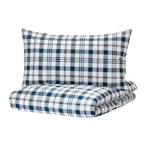 SPIKVALLMO - 被套連2個枕袋, 白色 藍色/方格, 240x220/50x80 cm | IKEA 香港及澳門 - PE769127_S4