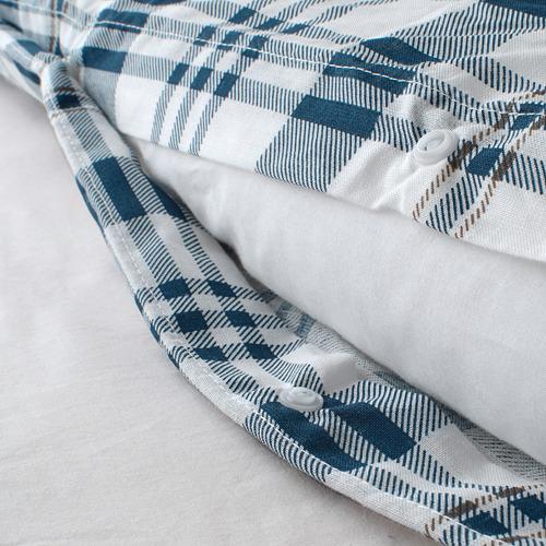SPIKVALLMO - 被套連2個枕袋, 白色 藍色/方格, 240x220/50x80 cm | IKEA 香港及澳門 - PE769129_S4