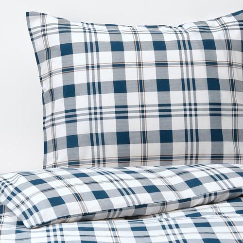 SPIKVALLMO - 被套連2個枕袋, 白色 藍色/方格, 240x220/50x80 cm | IKEA 香港及澳門 - PE769113_S4