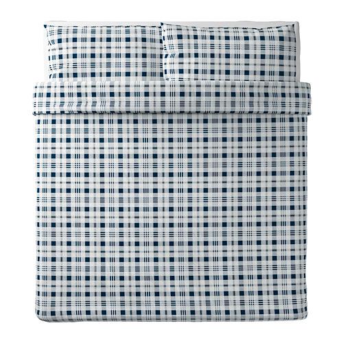 SPIKVALLMO - 被套連2個枕袋, 白色 藍色/方格, 240x220/50x80 cm | IKEA 香港及澳門 - PE769114_S4