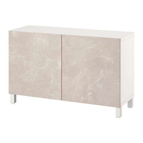 BESTÅ - 貯物組合連門, white Bergsviken/Stubbarp/beige marble effect   IKEA 香港及澳門 - PE821076_S4