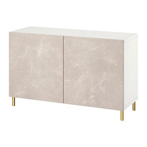 BESTÅ - 貯物組合連門, white Bergsviken/Ösarp/beige marble effect   IKEA 香港及澳門 - PE821096_S4