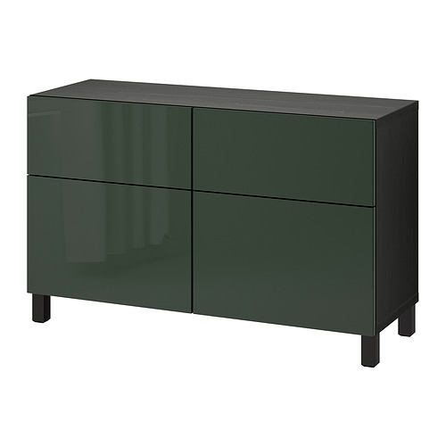BESTÅ - storage combination w doors/drawers, black-brown Selsviken/Stubbarp/high-gloss dark olive-green | IKEA Hong Kong and Macau - PE821115_S4