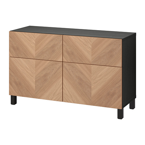 BESTÅ - 貯物組合連門/抽屜, black-brown/Hedeviken/Stubbarp oak veneer | IKEA 香港及澳門 - PE821117_S4