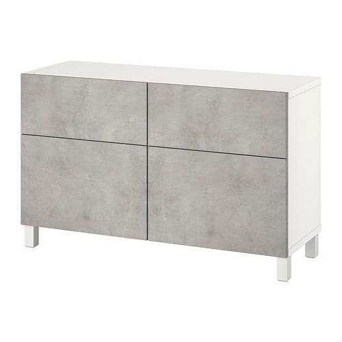BESTÅ - 貯物組合連門/抽屜, white Kallviken/Stubbarp/light grey concrete effect | IKEA 香港及澳門 - PE821110_S4