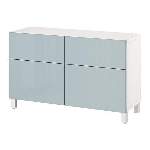 BESTÅ - 貯物組合連門/抽屜, white Selsviken/Stallarp/high-gloss light grey-blue | IKEA 香港及澳門 - PE821107_S4