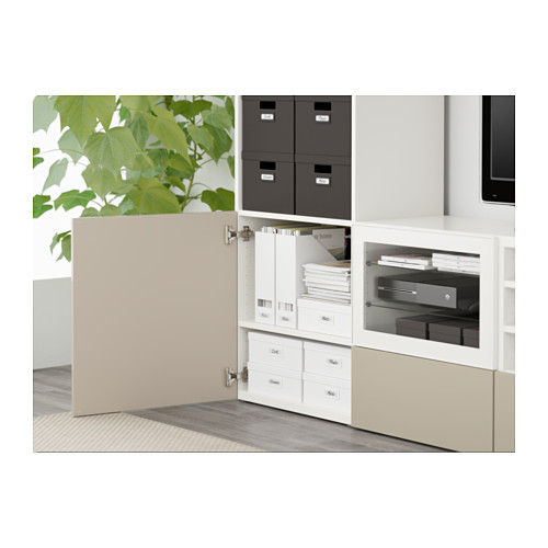 BESTÅ - TV storage combination/glass doors, white/Selsviken high-gloss/beige clear glass | IKEA Hong Kong and Macau - PE561326_S4