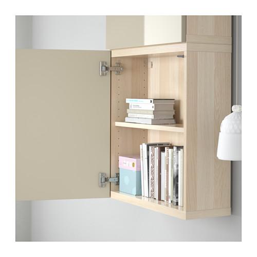 BESTÅ - wall cabinet with 2 doors, white stained oak effect/Selsviken high-gloss/beige | IKEA Hong Kong and Macau - PE561349_S4