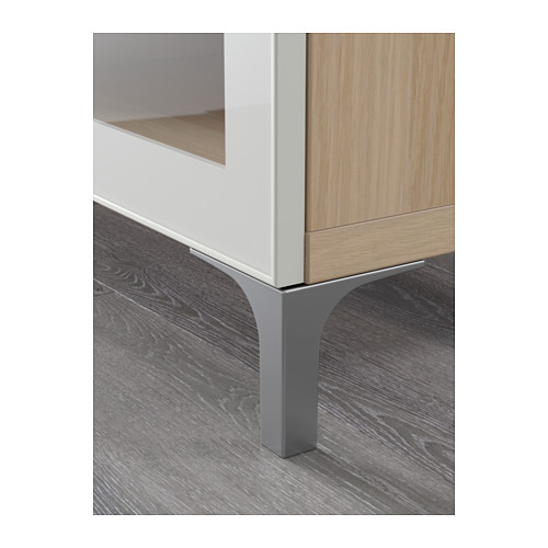 BESTÅ - TV bench with drawers, white stained oak effect/Selsviken high-gloss/white clear glass | IKEA Hong Kong and Macau - PE561413_S4