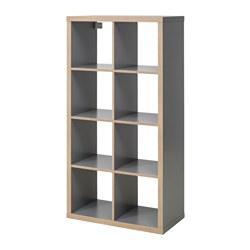 KALLAX - 層架組合, 灰色/木紋 | IKEA 香港及澳門 - PE627165_S3