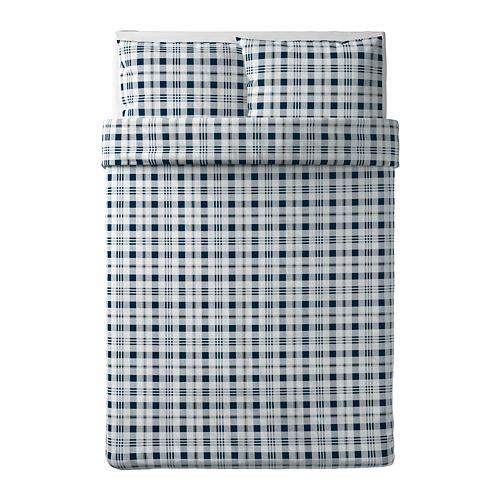 SPIKVALLMO - quilt cover and 2 pillowcases, white blue/check, 200x200/50x80 cm   IKEA Hong Kong and Macau - PE769117_S4