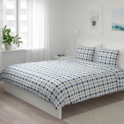SPIKVALLMO - 被套連2個枕袋, 白色 藍色/方格, 240x220/50x80 cm | IKEA 香港及澳門 - PE769119_S4