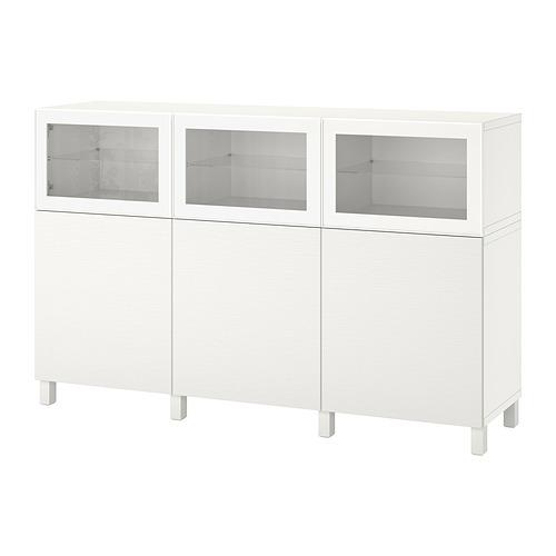 BESTÅ - 貯物組合連門, white Laxviken/Glassvik white clear glass | IKEA 香港及澳門 - PE821236_S4