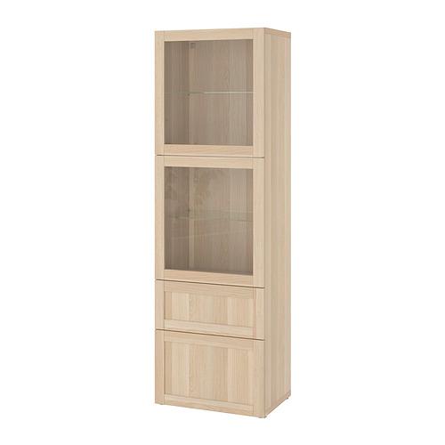 BESTÅ - 玻璃門貯物組合, white stained oak effect/Hanviken white stained oak eff clear glass | IKEA 香港及澳門 - PE821246_S4