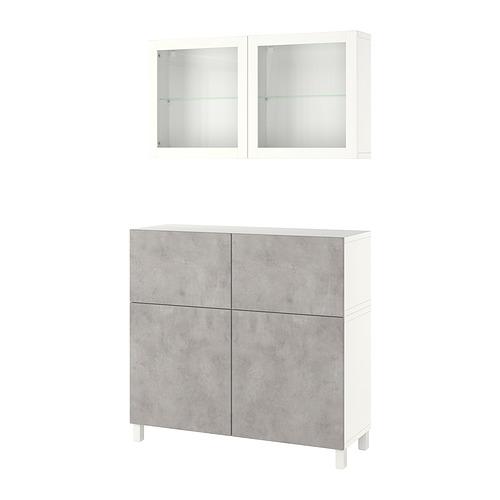 BESTÅ - 貯物組合連門/抽屜, white Kallviken/Stubbarp/light grey concrete effect | IKEA 香港及澳門 - PE821258_S4