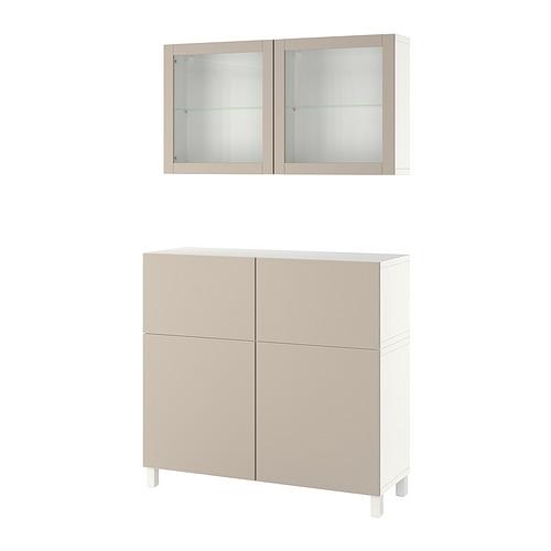 BESTÅ - 貯物組合連門/抽屜, white Lappviken/Stubbarp/light grey-beige clear glass   IKEA 香港及澳門 - PE821260_S4
