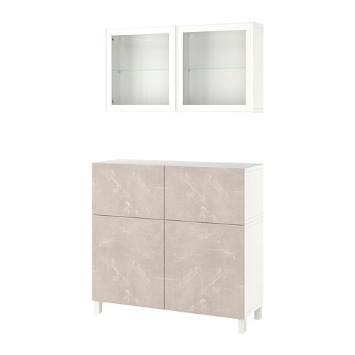 BESTÅ - 貯物組合連門/抽屜, white Bergsviken/Stubbarp/beige marble effect   IKEA 香港及澳門 - PE821254_S4