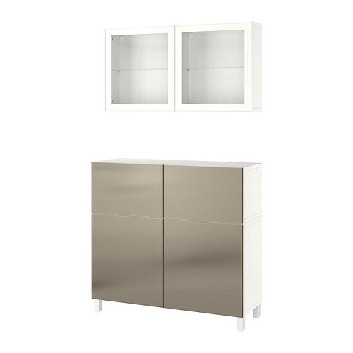 BESTÅ - 貯物組合連門/抽屜, white Riksviken/Stubbarp/light bronze effect clear glass | IKEA 香港及澳門 - PE821255_S4