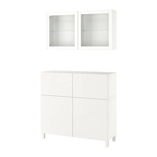 BESTÅ - 貯物組合連門/抽屜, white/Selsviken/Stubbarp high-gloss/white clear glass   IKEA 香港及澳門 - PE821256_S4