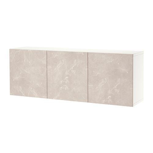 BESTÅ - 上牆式貯物組合, white Bergsviken/beige marble effect   IKEA 香港及澳門 - PE821281_S4